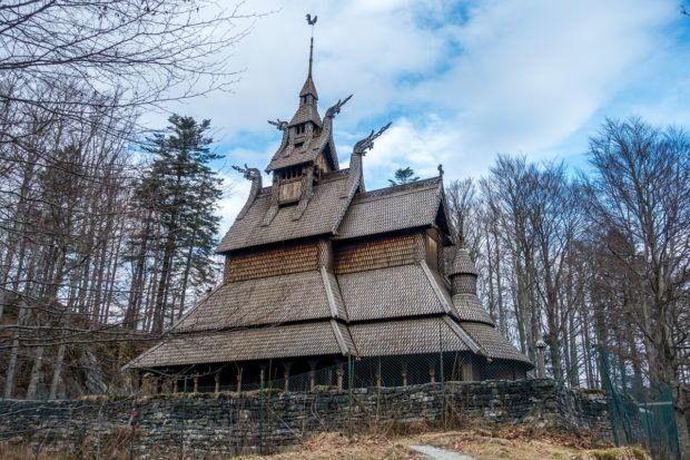 Fantoft Stave Church is located just outside the city center of Bergen, Norway