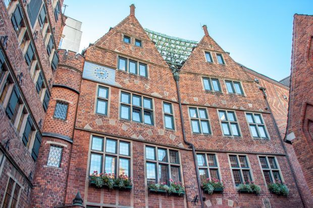 Bells strung between rooftops at The Glockenspiel House on Böttcherstrasse is a Bremen must see