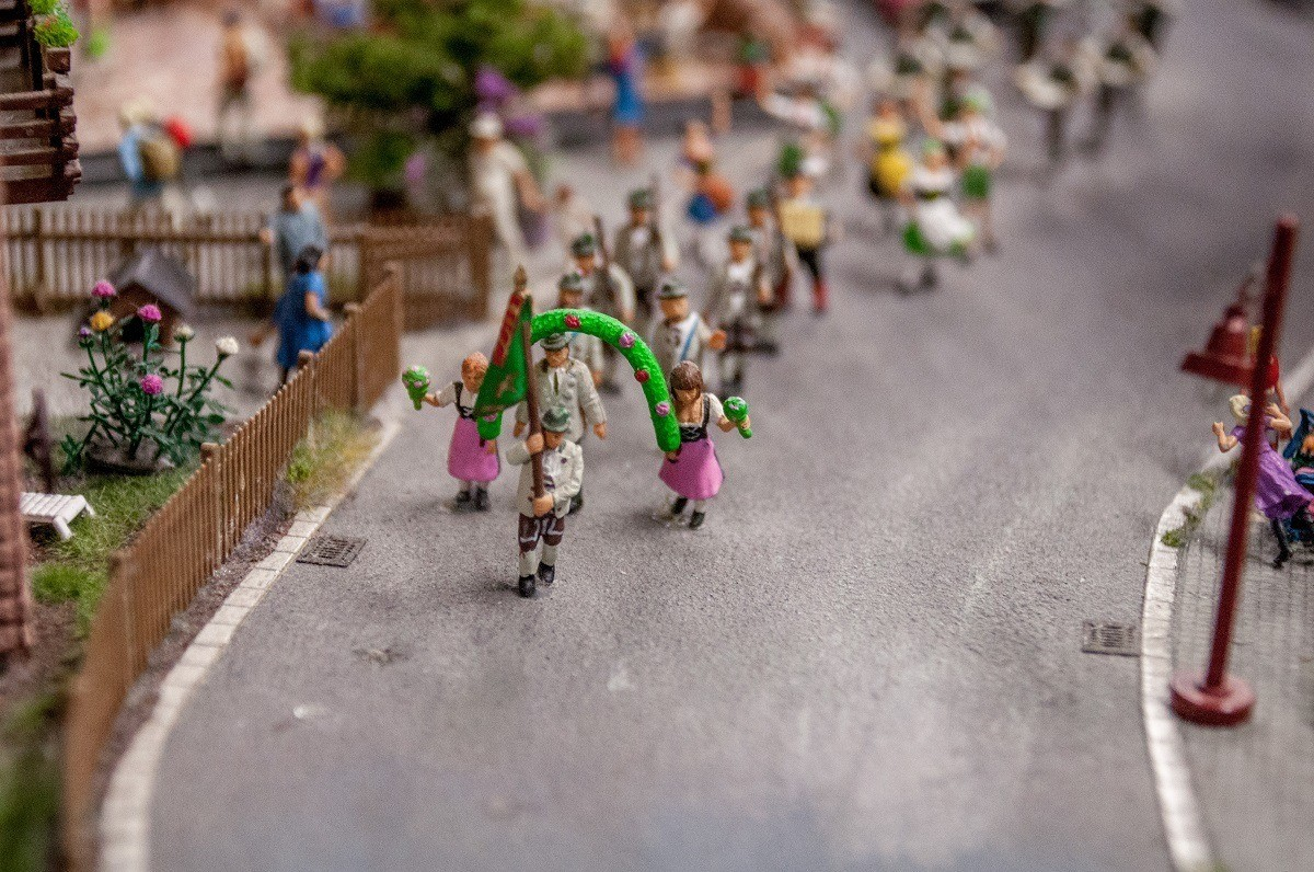A parade in Bavaria complete with lederhosen.  The attention to detail at Miniature Wonderland is amazing.