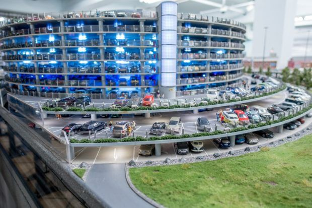The parking garage at Miniature Wonderland.