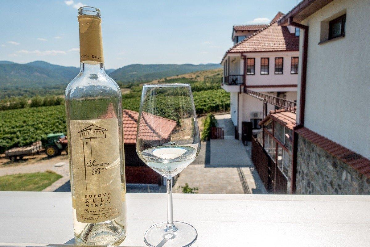 Enjoying the Stanushina Blanc at the Popova Kula in Macedonia.
