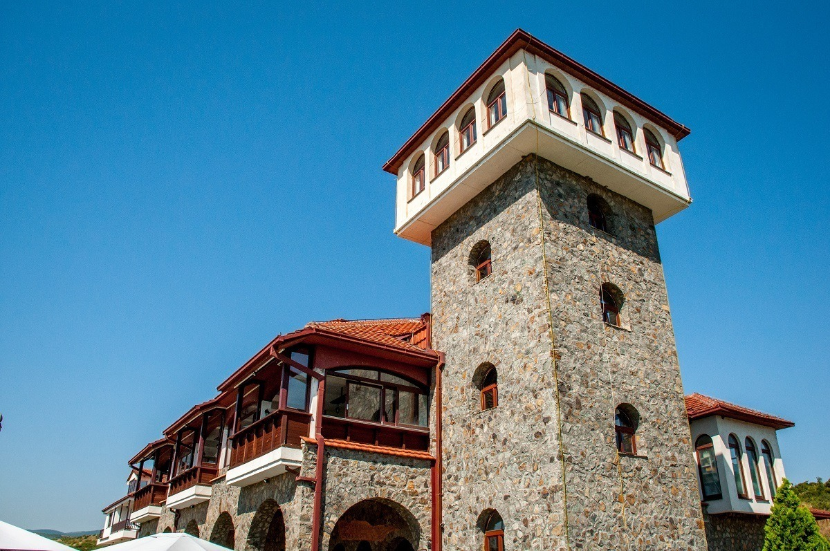 The castle tower of the Popova Kula Winery in Southern Macedonia.