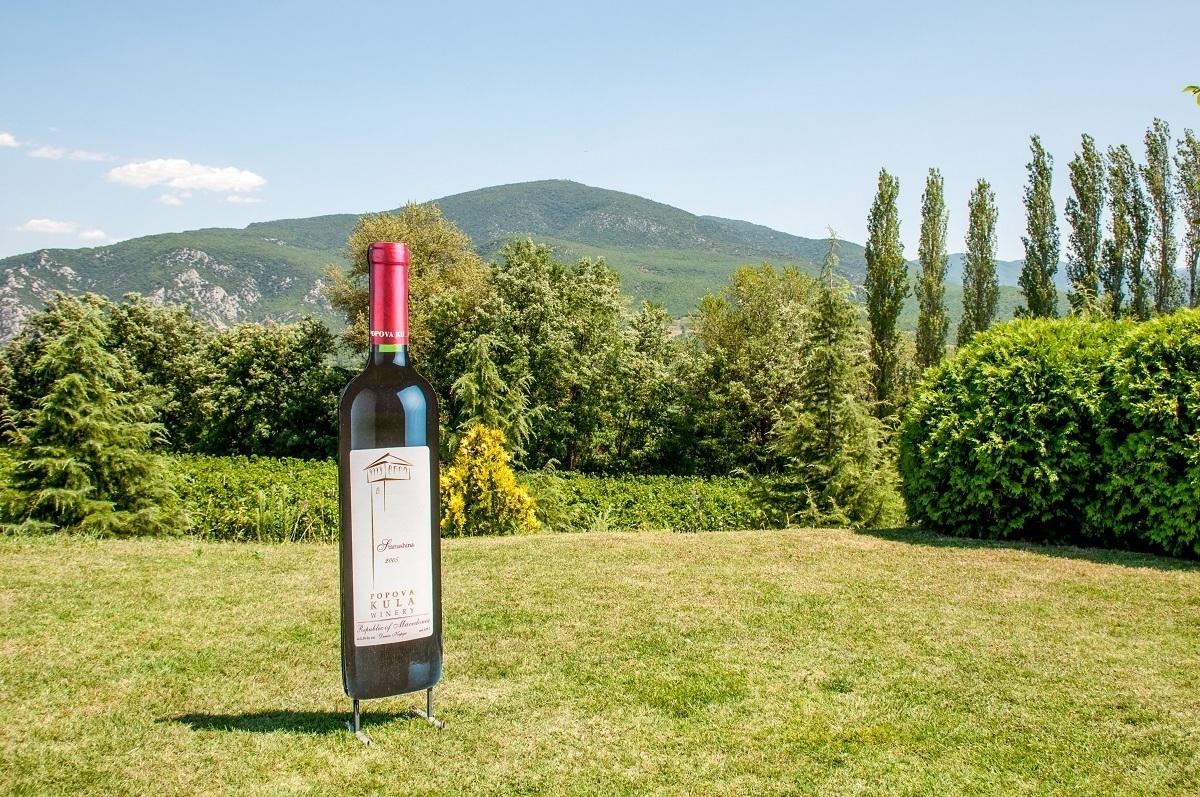 The lawn of Popova Kula winery in Southern Macedonia.