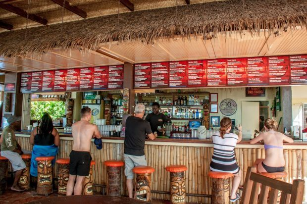 There is a wide selection of drinks at the Tiki Bar in Barbados