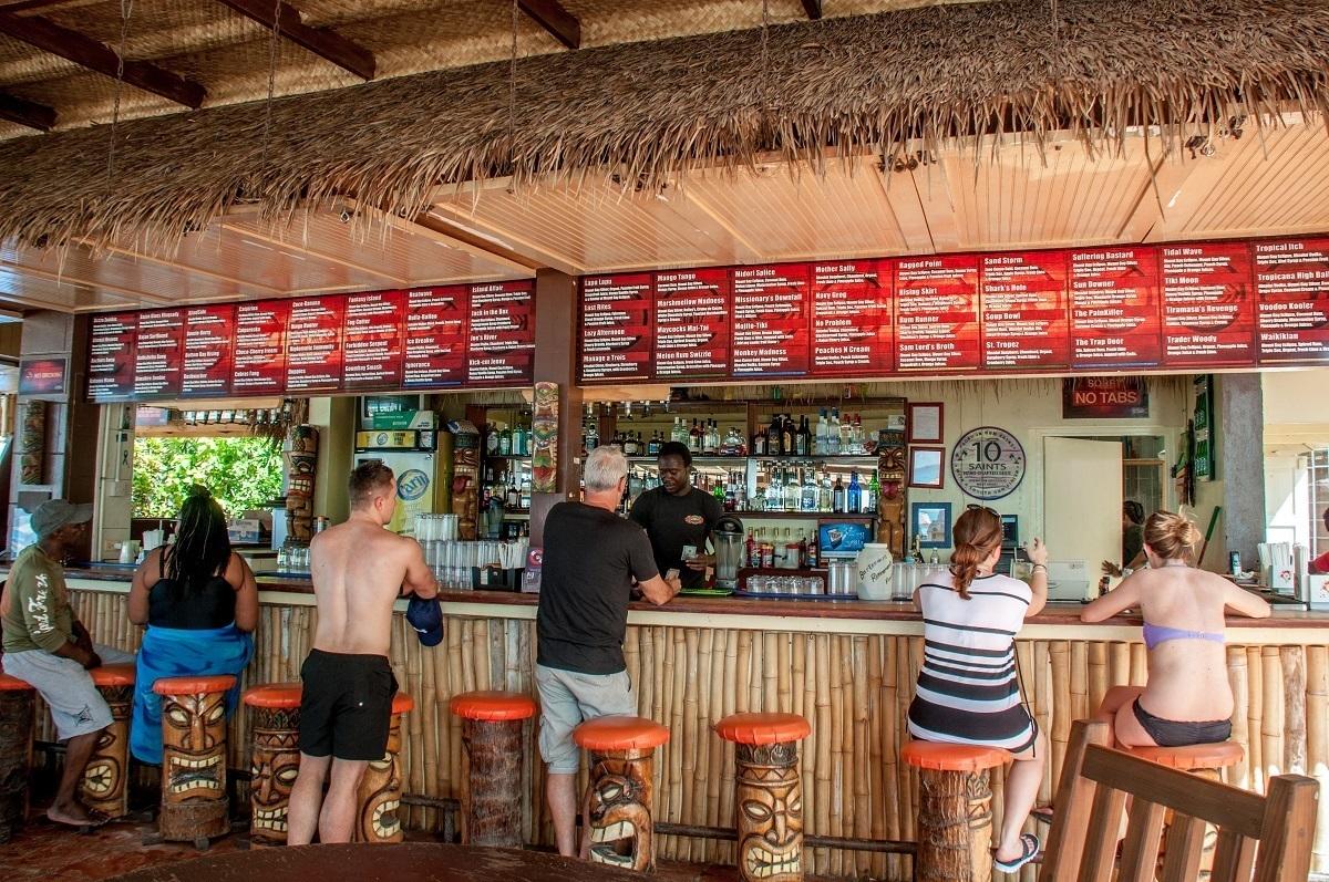 People sitting at the Tiki Bar