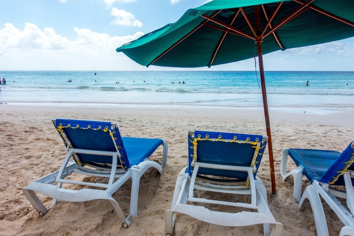 Lounge chairs and umbrella on Rockley Beach overlooking the ocean