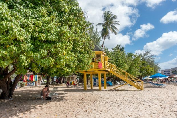 Lifeguard stand on Rockley Beach in Barbados