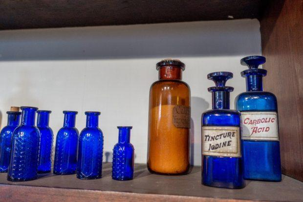 Medicine bottles in the apothecary in Bethlehem, Pennsylvania