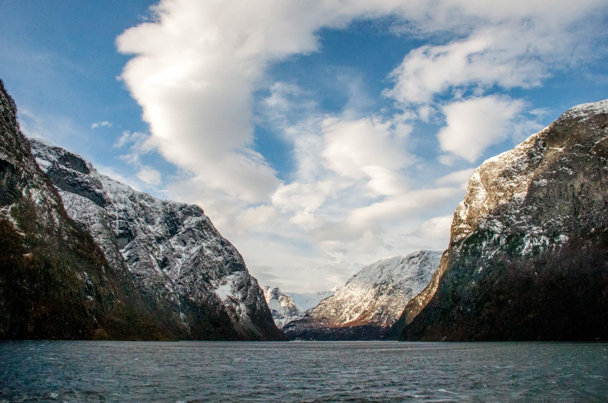 Mountains and ocean of a fjord in Norway