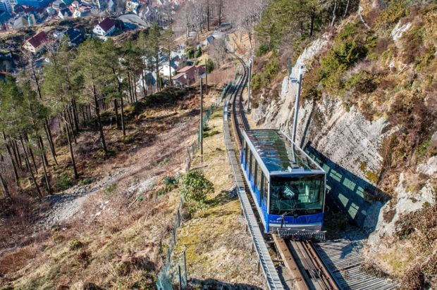 Bergen Norway funicular headed to the top of Mount Floyen