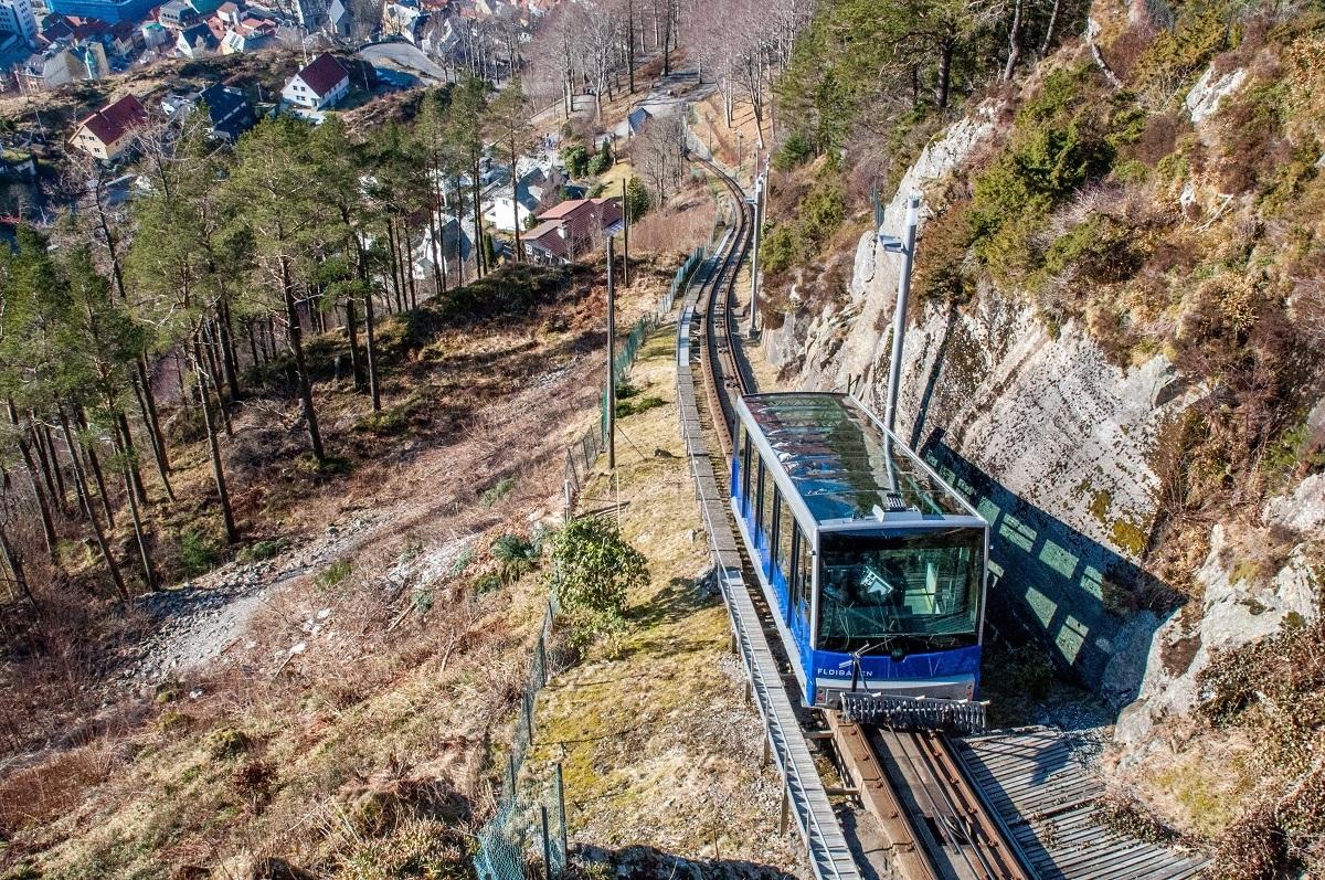 Funicular car going up Mount Floyen