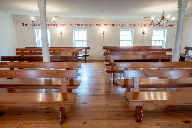 The saal was the central place of worship for Moravians in early Bethlehem. The room is in the Moravian Museum of Bethlehem, Pennsylvania.