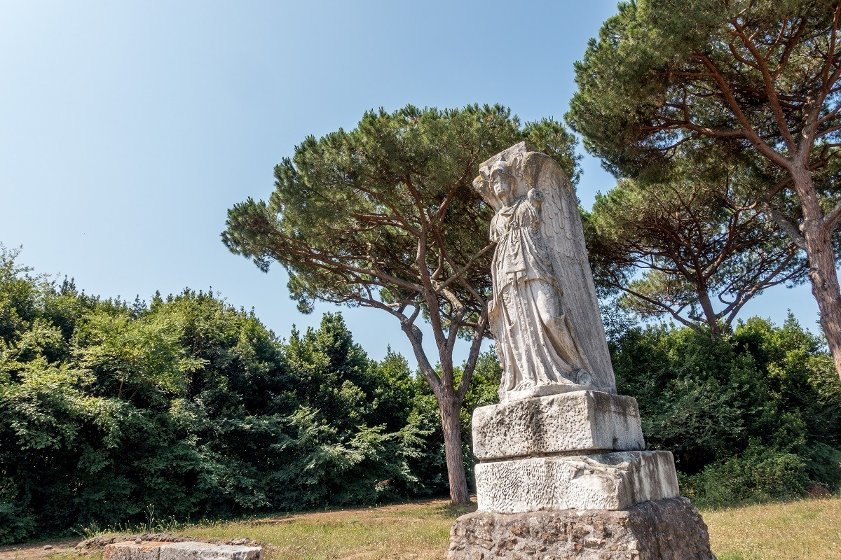 Minerva as Victory statue at the ruins of Ostia Antica near Rome, Italy