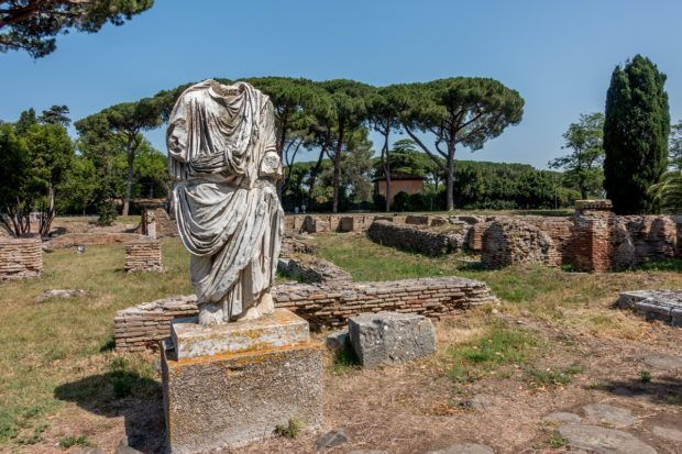 Statue of a nobleman at Ostia Antica, Italy