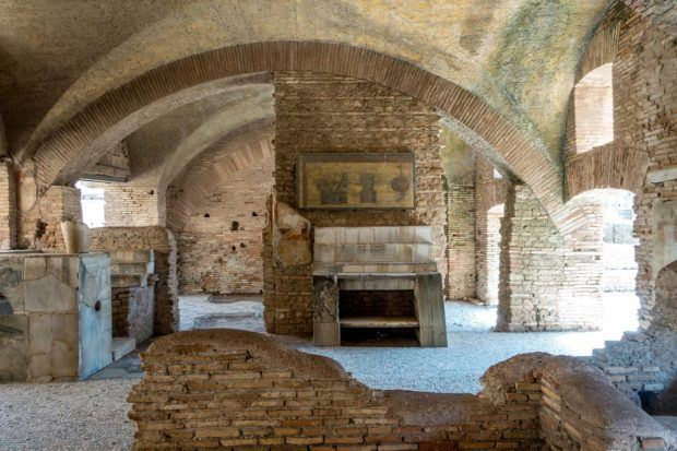 Remains of the tavern at Ostia Antica, Italy