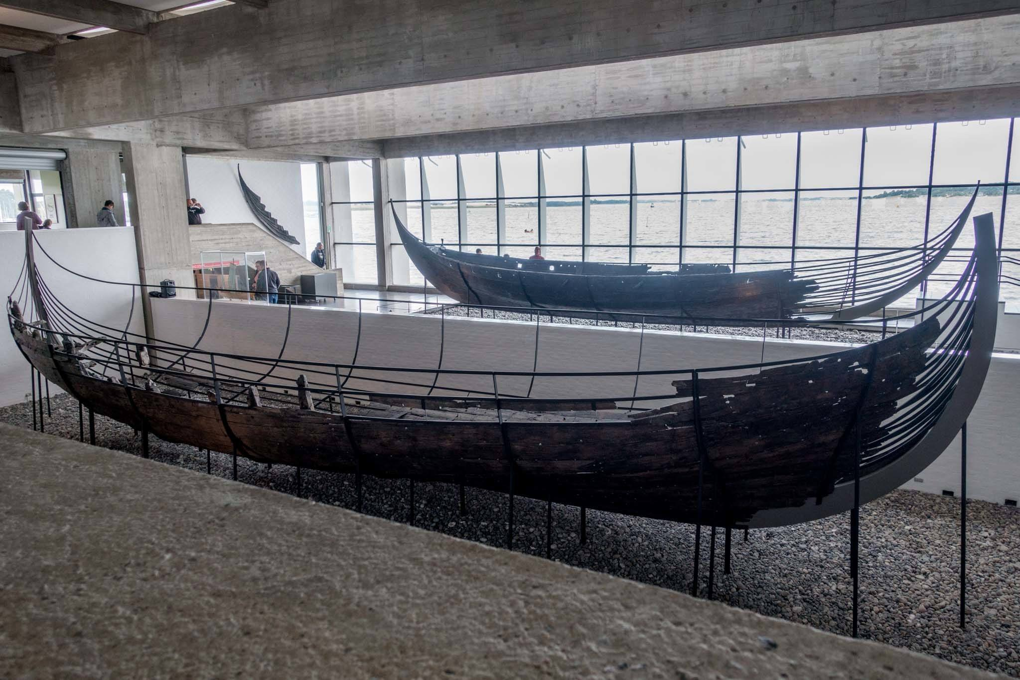 The Viking Ship Museum in Roskilde, Denmark, is positioned along Roskilde fjord (just outside the window)
