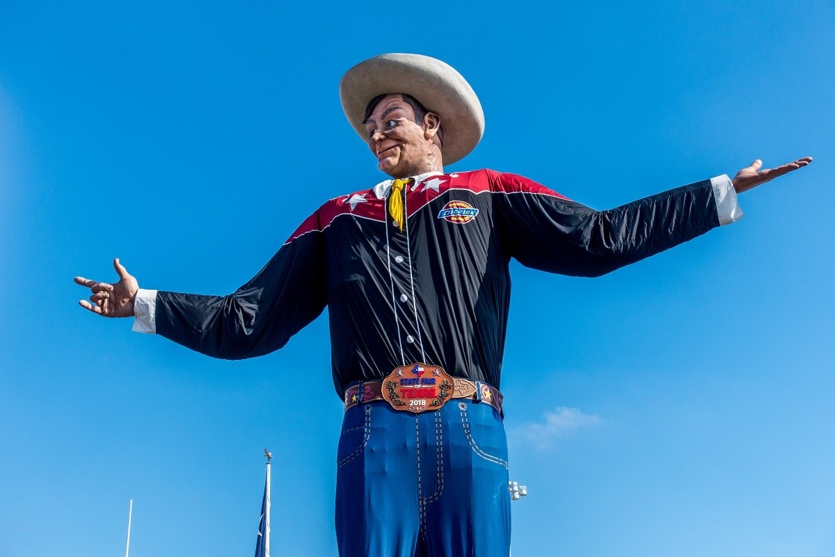 Big Tex, a large animatronic cowboy, at the Texas State Fair