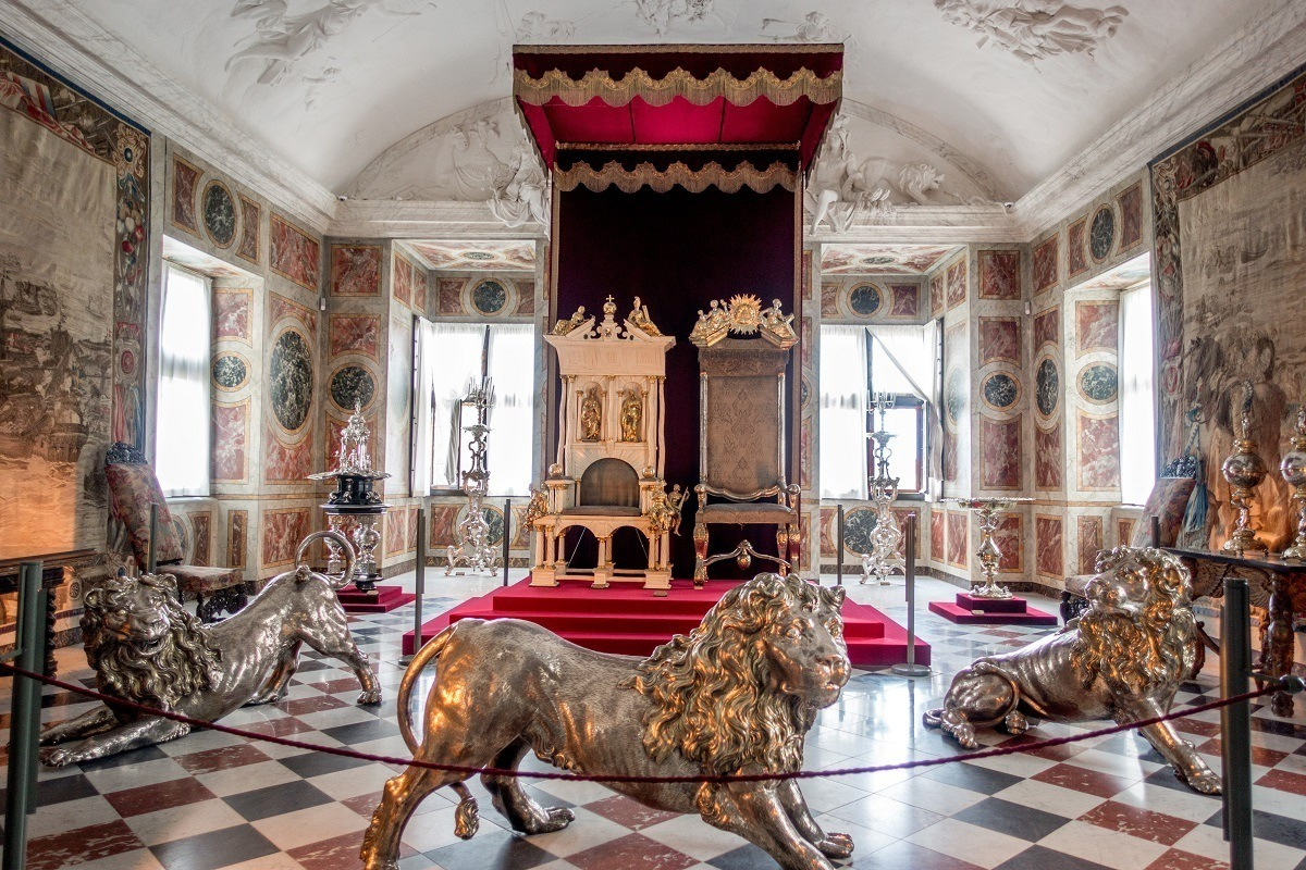 Knights' Hall (aka Long Hall) in Rosenborg Castle is home to 350-year-old royal thrones