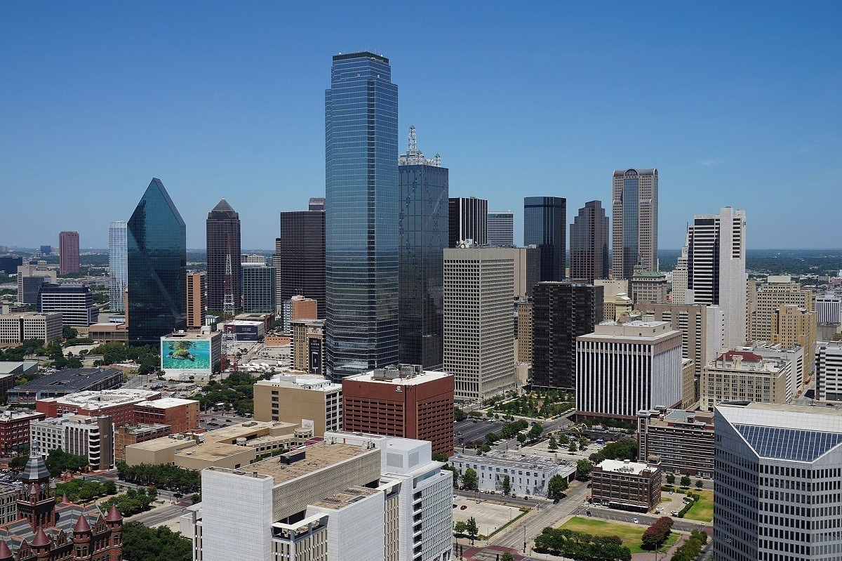 Dallas skyline with numerous buildings and skyscrapers as seen from Reunion Tower