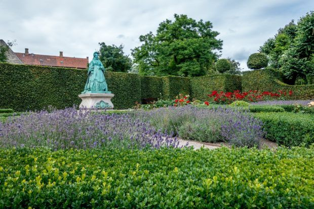 Queen Caroline in the Rosenborg Castle gardens in Copenhagen, Denmark