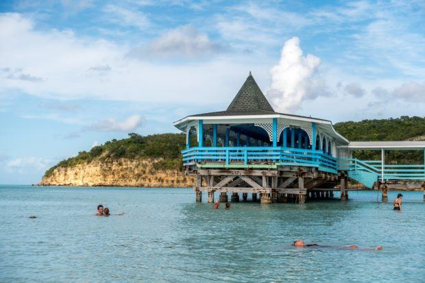 The pier on Dickenson Bay Beach in Antigua.