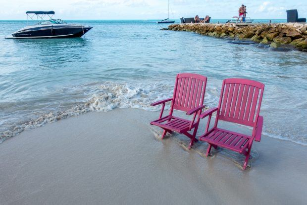 Beach chairs on the best beach in Antigua.