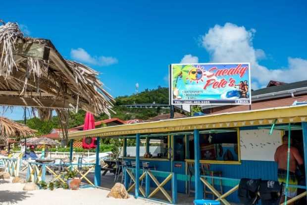 Sneaky Pete's on Dickenson Bay Beach sells all different kind of watersports.