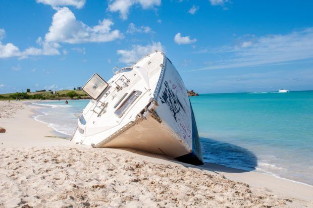 Shipwreck on Dickenson Bay, the best beach in Antigua.