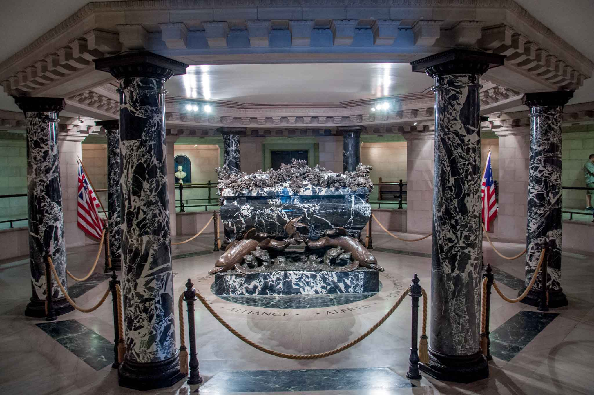 Black marble crypt of John Paul Jones in Annapolis MD