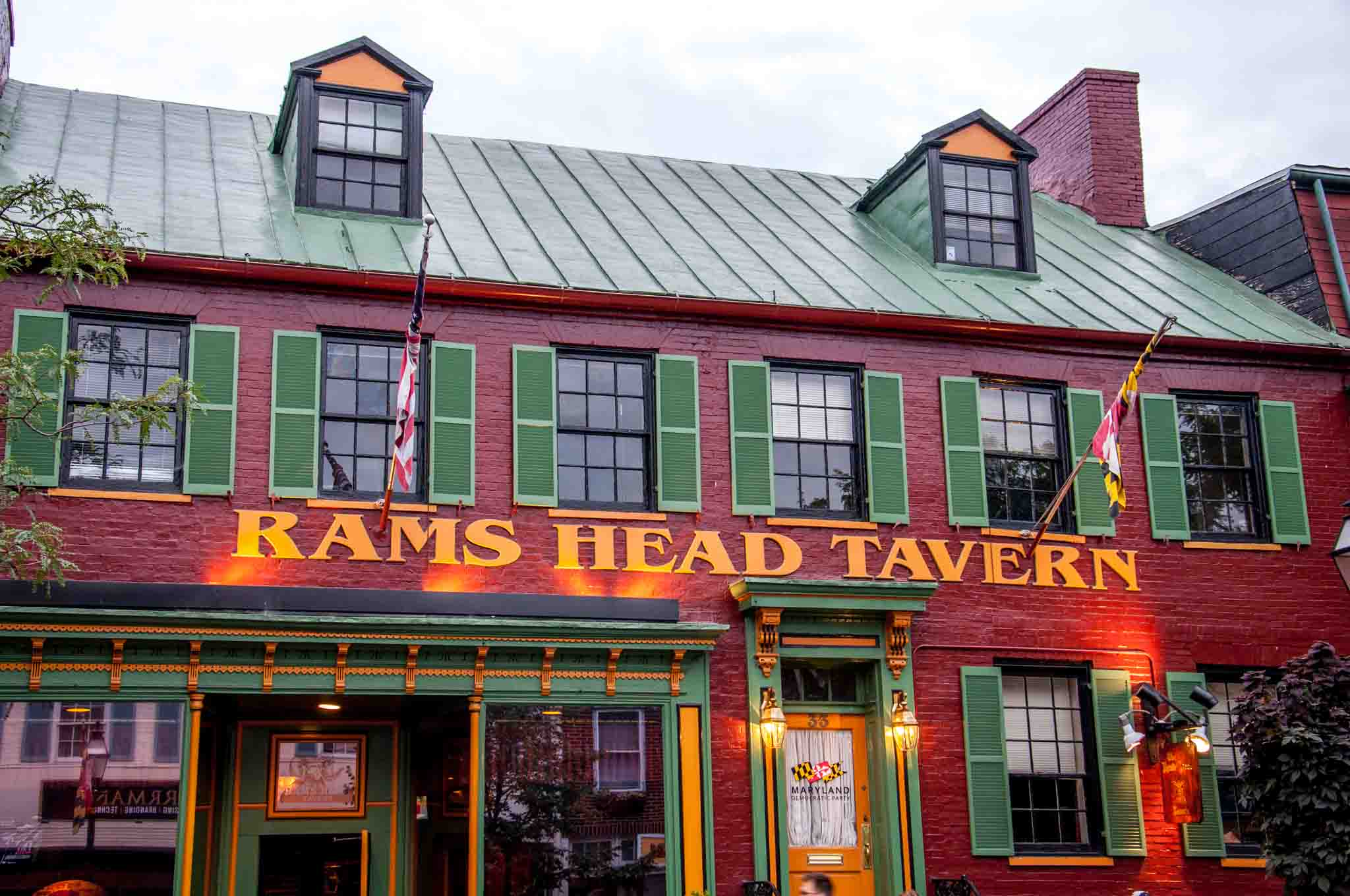 Exterior of Rams Head Tavern in downtown Annapolis