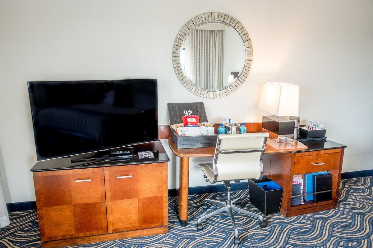 The TV and desk in our hotel room