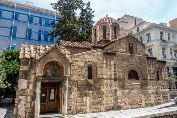 Church of Panagia Kapnikarea, which dates from 1050, is in downtown Athens, Greece