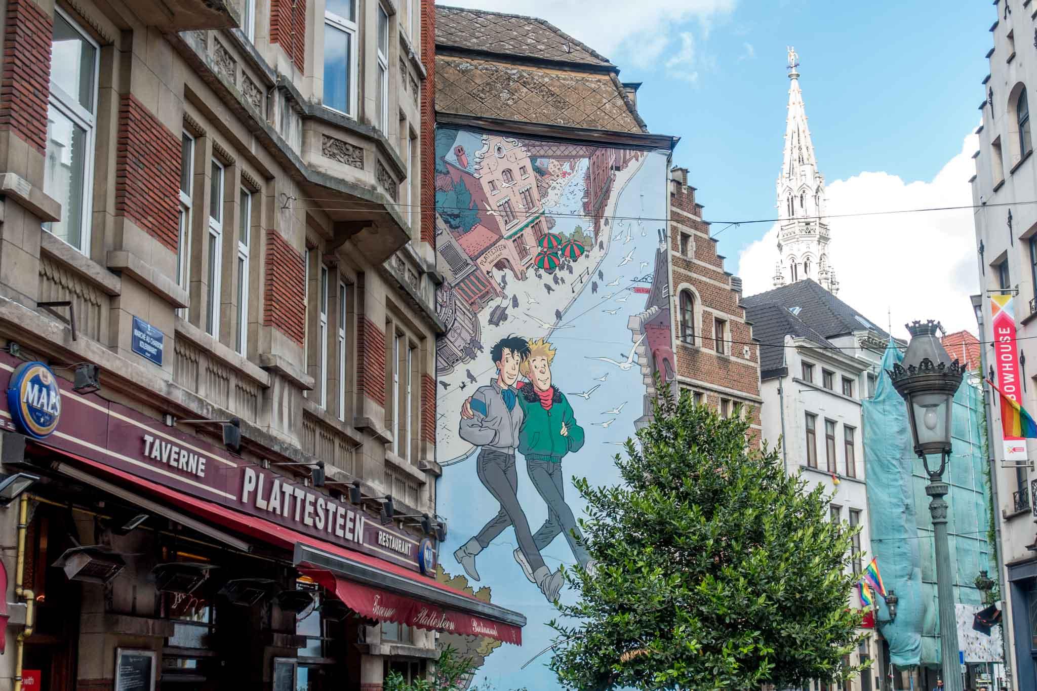 Street art mural of couple walking down the street in Brussels