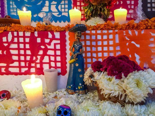 Altar for Dia de los Muertos in Mexico