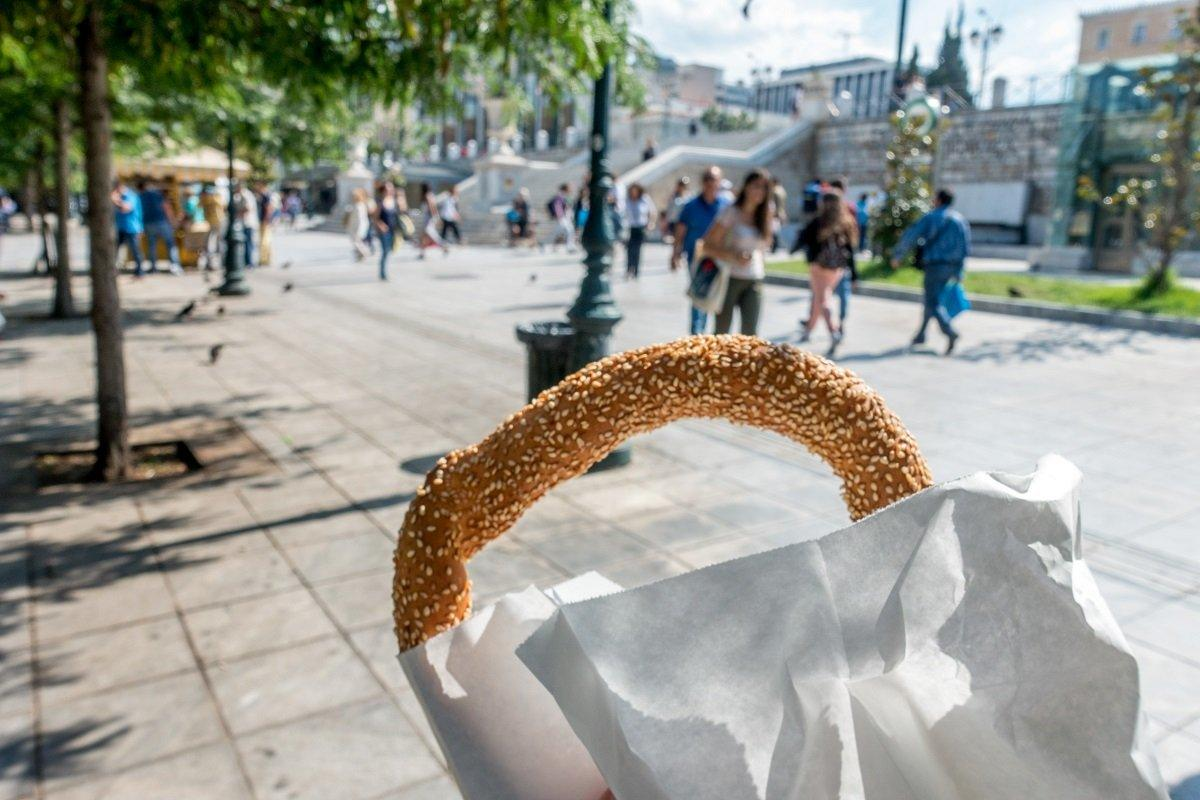 A simple, popular breakfast of koulouri was the first stop on my Athens food tour