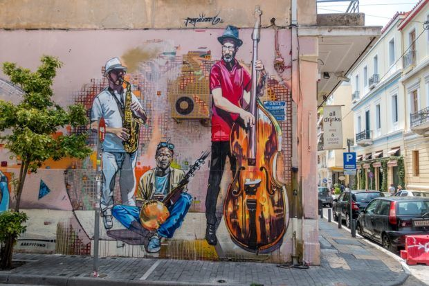 Street art in the Psirri neighborhood of Athens, Greece
