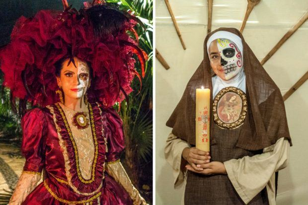 Various Day of the Dead figures at Xcaret in Mexico