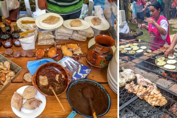 Food from Puebla being made at Xcaret ecopark in Mexico