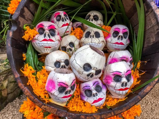 Painted skulls on display at Xcaret for Day of the Dead
