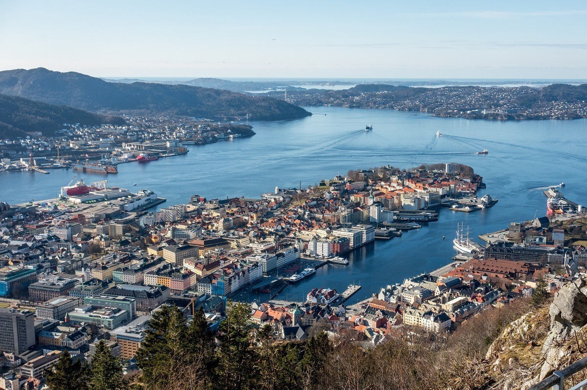 Overhead view of the buildings and harbor of Bergen, Norway with boats