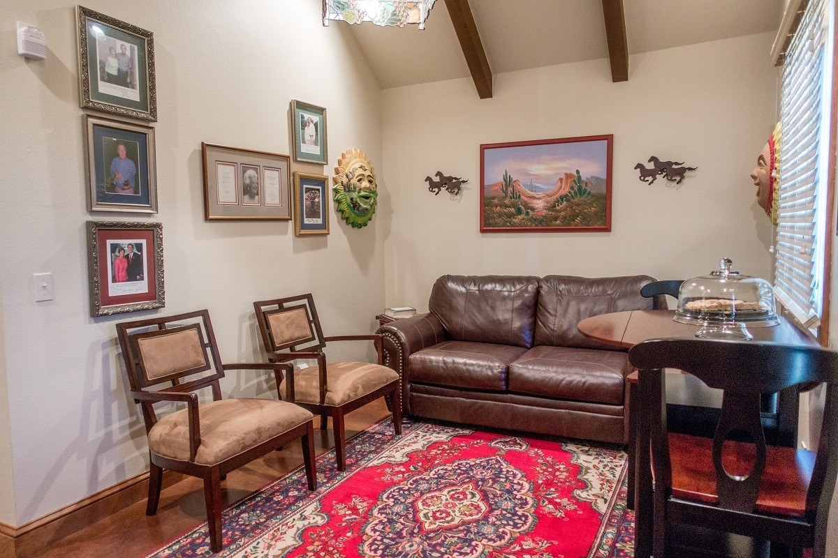 The living room in Presidents Haus at the Manor Haus B&B, lodging at at Hill Country winery
