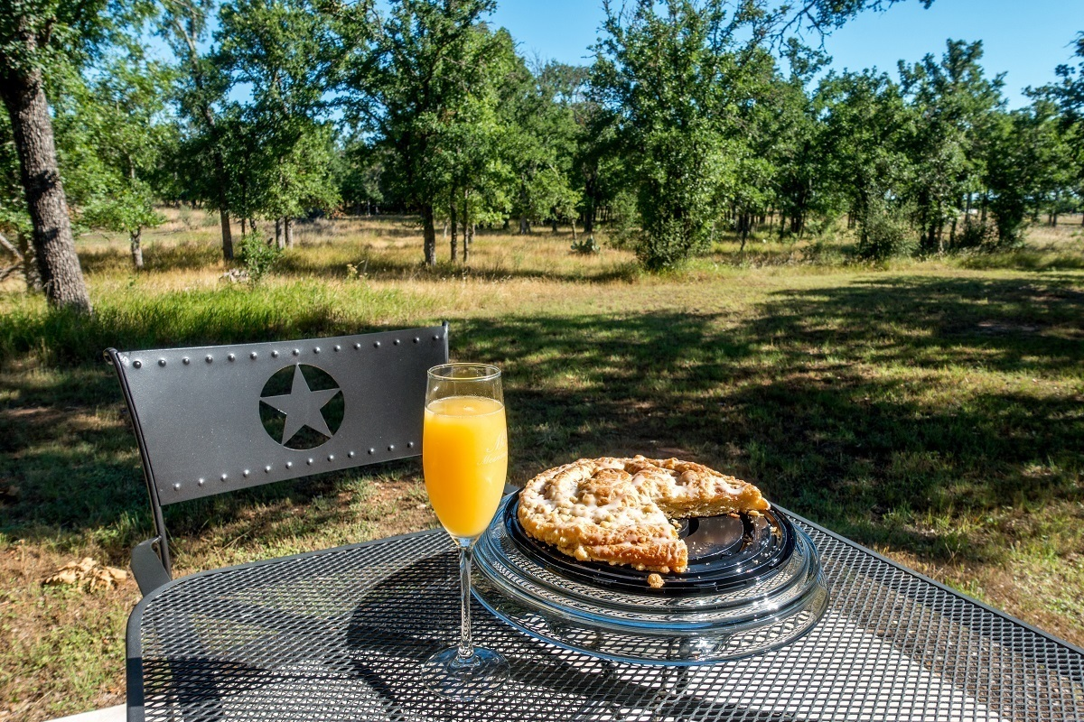 Breakfast on the porch at Messina Hof Hill Country