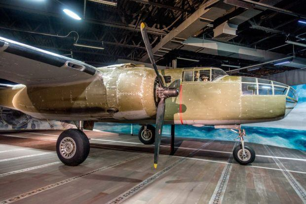 B-25 bomber on display at the Museum of the Pacific War