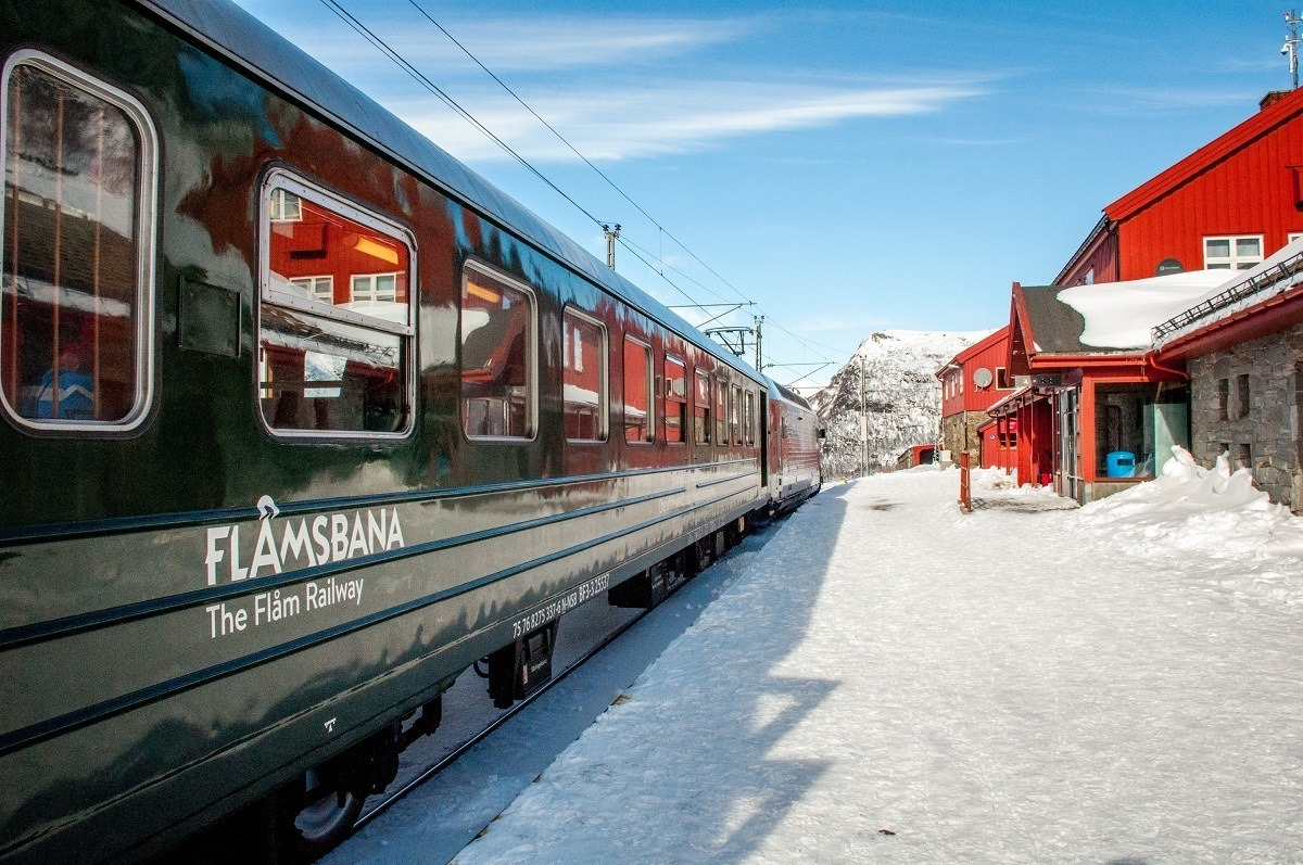 Green Flam Railway train car (Flamsbana) in the snow