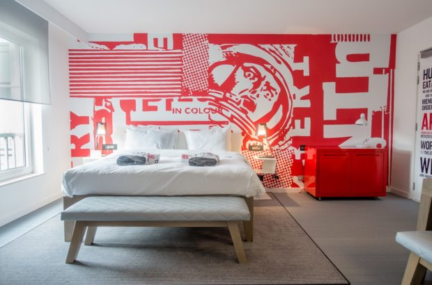 Bedrooms at the Radisson Red Brussels are covered in cartoons, like much of the rest of the hotel