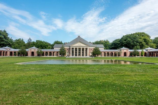 The Little Theater and reflecting pool at Saratoga Springs Performing Arts Center