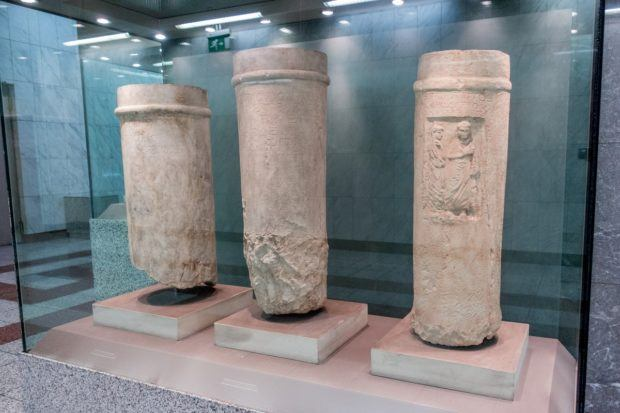 Artifacts displayed in the metro in Athens, Greece