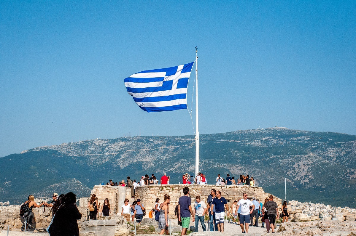 Flag on top of the Acropolis in Athens, Greece