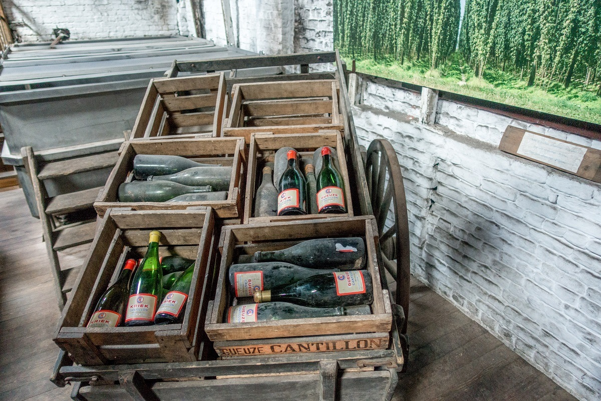 Bottles on display at Cantillon Brewery in Brussels, Belgium