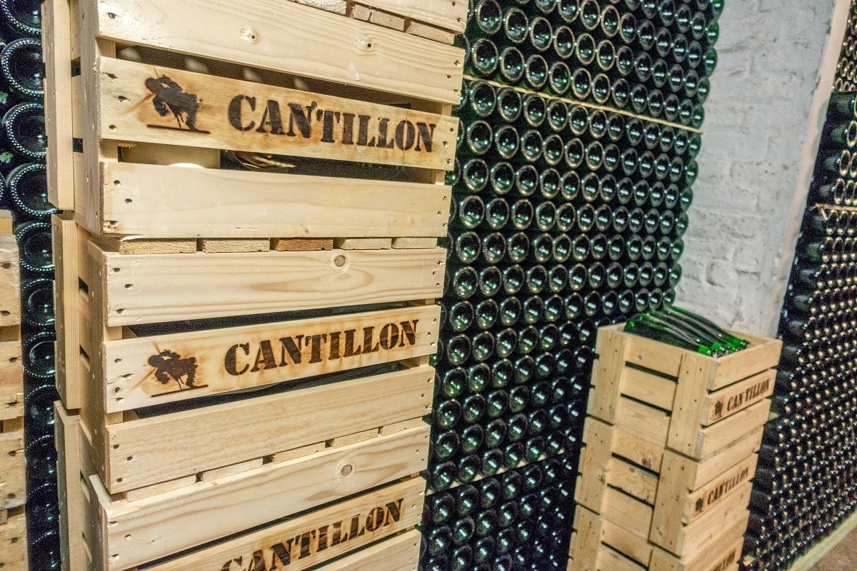 Bottles and crates at Brasserie Cantillon in Brussels